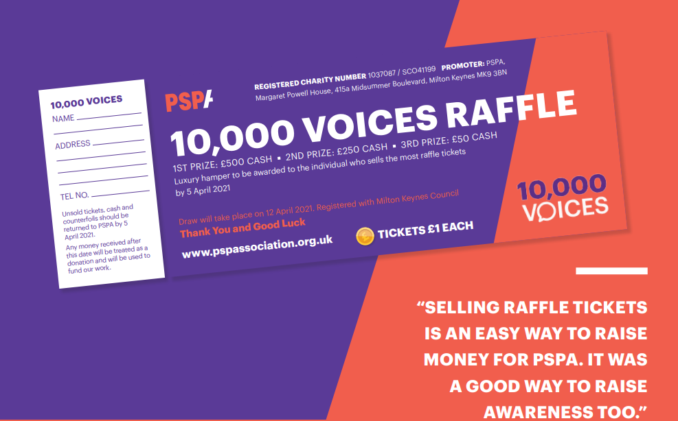 Raise awareness of PSP & CBD by playing in our 10,000 Voices raffle